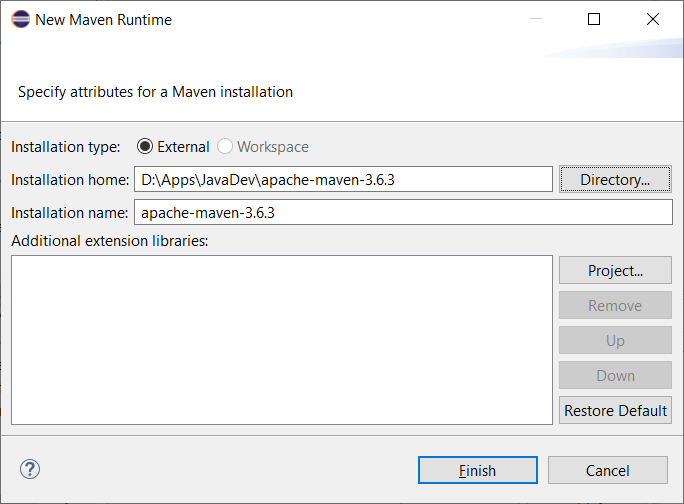 Adding Maven installation dialog