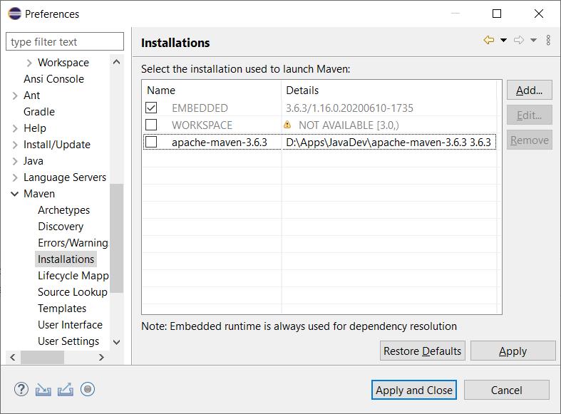 Preferences - Maven - Installations dialog - with external maven installation