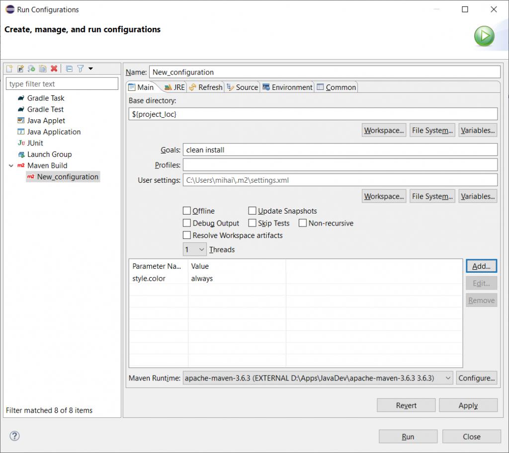 Run configuration dialog - Main tab - all done