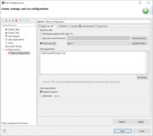 Run configuration dialog - JRE tab - jansi passthrough