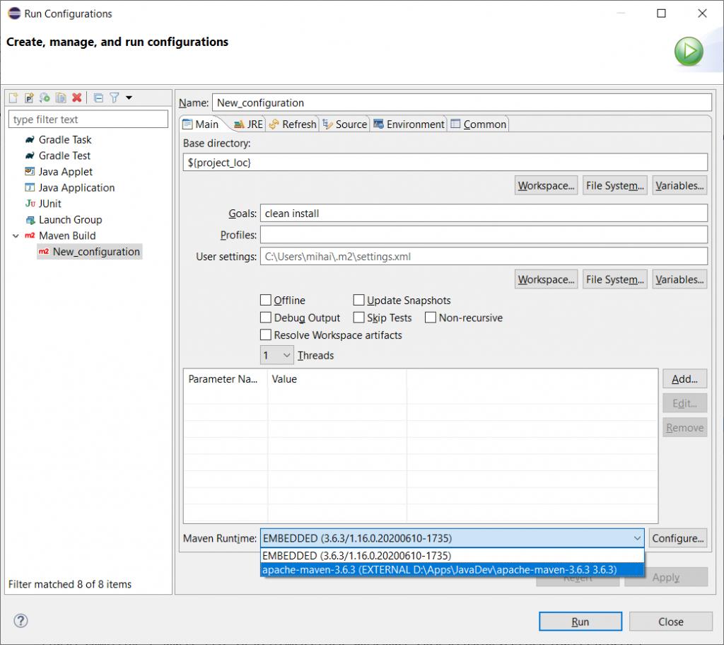 Run configuration dialog - Main tab - Maven Runtime